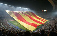 The biggest Catalan flag in the world, in the Camp Nou